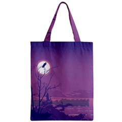 Abstract Tropical Birds Purple Sunset Classic Tote Bag by WaltCurleeArt
