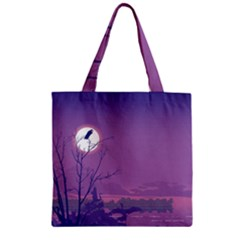 Abstract Tropical Birds Purple Sunset Zipper Grocery Tote Bag by WaltCurleeArt