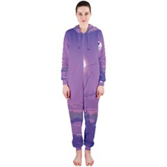 Abstract Tropical Birds Purple Sunset Hooded Jumpsuit (ladies)  by WaltCurleeArt