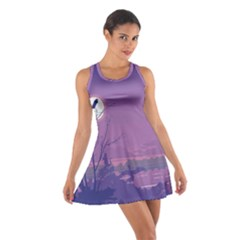 Abstract Tropical Birds Purple Sunset Racerback Dresses by WaltCurleeArt