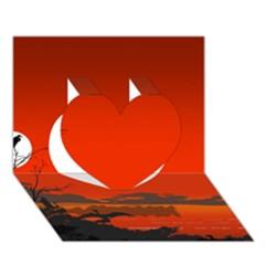 Tropical Birds Orange Sunset Landscape Heart 3d Greeting Card (7x5)  by WaltCurleeArt