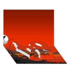 Tropical Birds Orange Sunset Landscape Love Bottom 3d Greeting Card (7x5)  by WaltCurleeArt
