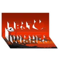 Tropical Birds Orange Sunset Landscape Best Wish 3d Greeting Card (8x4)  by WaltCurleeArt