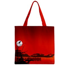 Tropical Birds Orange Sunset Landscape Zipper Grocery Tote Bag by WaltCurleeArt
