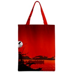 Tropical Birds Orange Sunset Landscape Zipper Classic Tote Bag by WaltCurleeArt