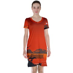 Tropical Birds Orange Sunset Landscape Short Sleeve Nightdress