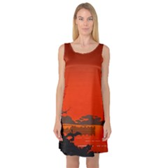 Tropical Birds Orange Sunset Landscape Sleeveless Satin Nightdress by WaltCurleeArt
