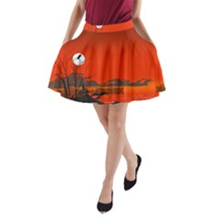 Tropical Birds Orange Sunset Landscape A Line Pocket Skirt by WaltCurleeArt