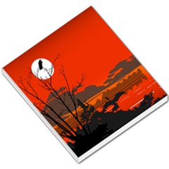 Tropical Birds Orange Sunset Landscape Small Memo Pads by WaltCurleeArt