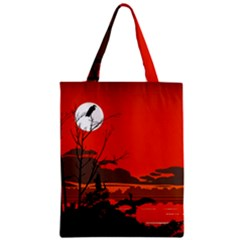Tropical Birds Orange Sunset Landscape Classic Tote Bag by WaltCurleeArt