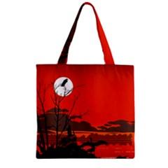 Tropical Birds Orange Sunset Landscape Zipper Grocery Tote Bag by WaltCurleeArt