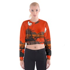 Tropical Birds Orange Sunset Landscape Women s Cropped Sweatshirt by WaltCurleeArt