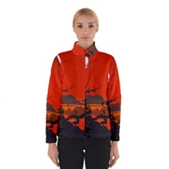 Tropical Birds Orange Sunset Landscape Winterwear by WaltCurleeArt