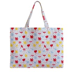 Seamless Colorful Flowers Pattern Zipper Mini Tote Bag