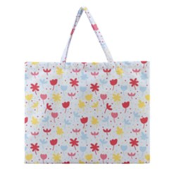 Seamless Colorful Flowers Pattern Zipper Large Tote Bag