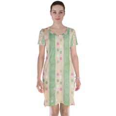 Seamless Colorful Dotted Pattern Short Sleeve Nightdress
