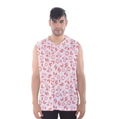Red Seamless Floral Pattern Men s Basketball Tank Top by TastefulDesigns