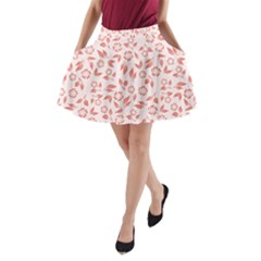 Red Seamless Floral Pattern A Line Pocket Skirt
