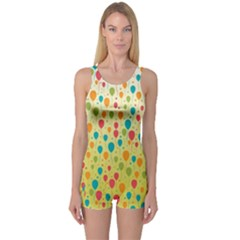 Colorful Balloons Backlground One Piece Boyleg Swimsuit by TastefulDesigns