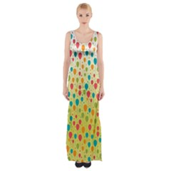 Colorful Balloons Backlground Maxi Thigh Split Dress by TastefulDesigns
