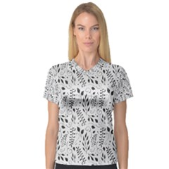 Hand Painted Floral Pattern Women s V Neck Sport Mesh Tee by TastefulDesigns