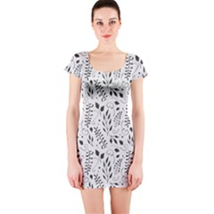 Hand Painted Floral Pattern Short Sleeve Bodycon Dress