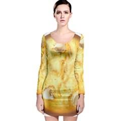 White Chocolate Chip Lemon Cookie Novelty Long Sleeve Bodycon Dress