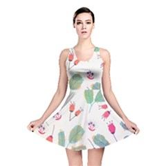 Hand Drawn Flowers Background Reversible Skater Dress