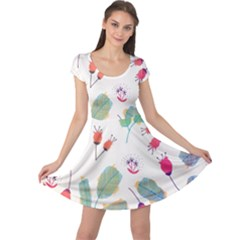 Hand Drawn Flowers Background Cap Sleeve Dresses