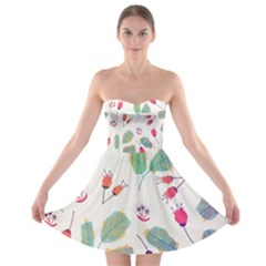 Hand Drawn Flowers Background Strapless Dresses