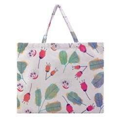 Hand Drawn Flowers Background Zipper Large Tote Bag