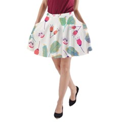 Hand Drawn Flowers Background A Line Pocket Skirt