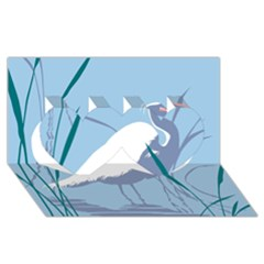 Egret Twin Hearts 3d Greeting Card (8x4)  by WaltCurleeArt