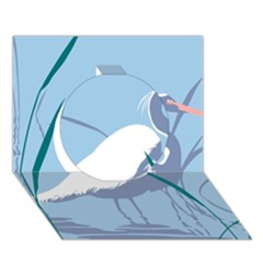 Egret Circle 3d Greeting Card (7x5)  by WaltCurleeArt