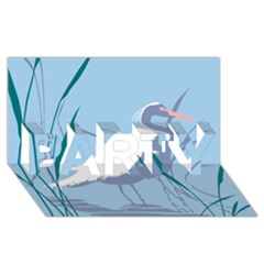 Egret Party 3d Greeting Card (8x4)  by WaltCurleeArt