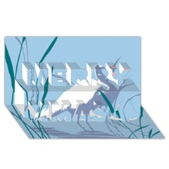 Egret Merry Xmas 3d Greeting Card (8x4)  by WaltCurleeArt