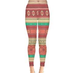 Hand Drawn Ethnic Shapes Pattern Leggings  by TastefulDesigns