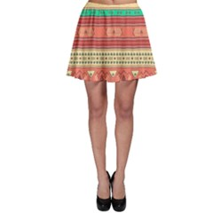 Hand Drawn Ethnic Shapes Pattern Skater Skirt