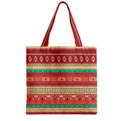 Hand Drawn Ethnic Shapes Pattern Grocery Tote Bag by TastefulDesigns