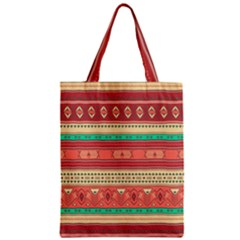 Hand Drawn Ethnic Shapes Pattern Zipper Classic Tote Bag