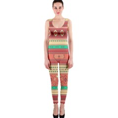 Hand Drawn Ethnic Shapes Pattern Onepiece Catsuit