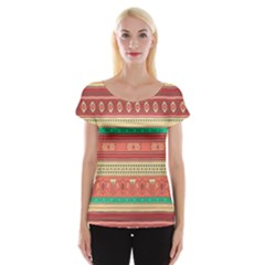 Hand Drawn Ethnic Shapes Pattern Women s Cap Sleeve Top