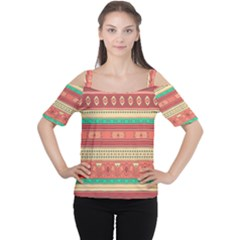 Hand Drawn Ethnic Shapes Pattern Women s Cutout Shoulder Tee