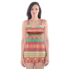 Hand Drawn Ethnic Shapes Pattern Skater Dress Swimsuit by TastefulDesigns