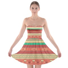 Hand Drawn Ethnic Shapes Pattern Strapless Dresses