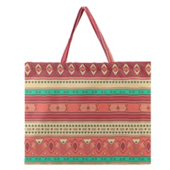 Hand Drawn Ethnic Shapes Pattern Zipper Large Tote Bag