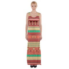 Hand Drawn Ethnic Shapes Pattern Maxi Thigh Split Dress by TastefulDesigns