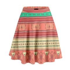 Hand Drawn Ethnic Shapes Pattern High Waist Skirt by TastefulDesigns