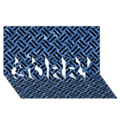 Woven2 Black Marble & Blue Marble (r) Sorry 3d Greeting Card (8x4)