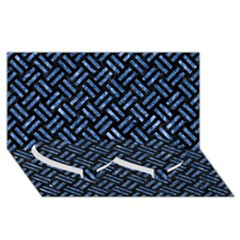 Woven2 Black Marble & Blue Marble Twin Heart Bottom 3d Greeting Card (8x4)